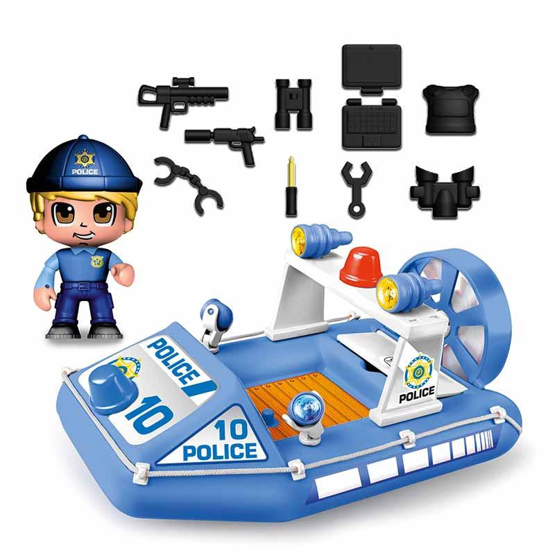 Pinypon Action lancha de policía y figura