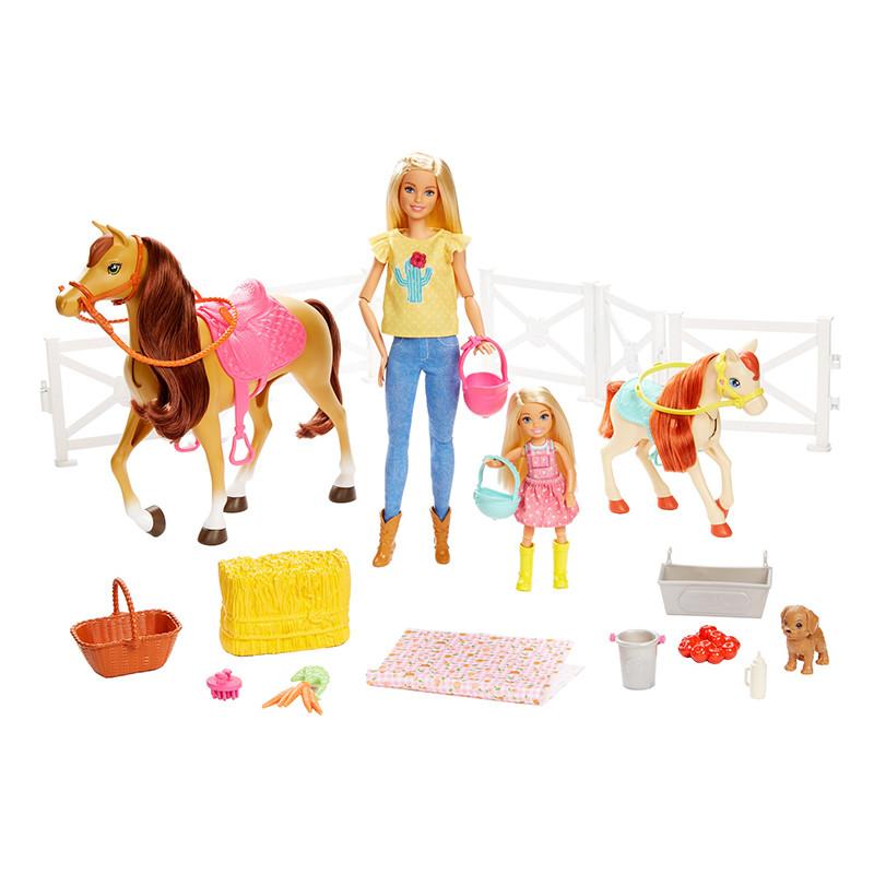 Barbie y Chelsea con caballos y accesorios