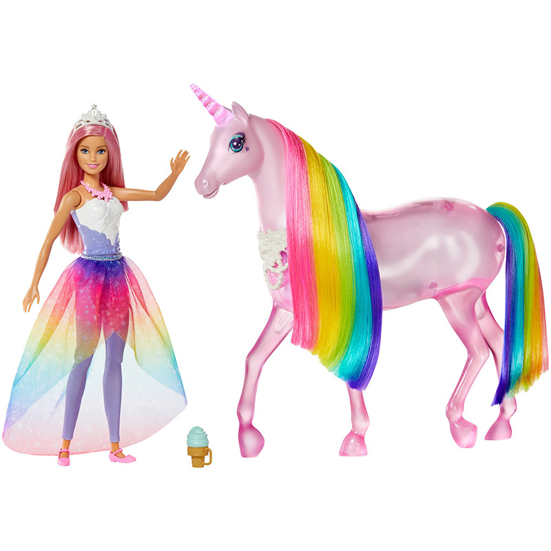 Barbie Dreamtopia y su unicornio luces mágicas