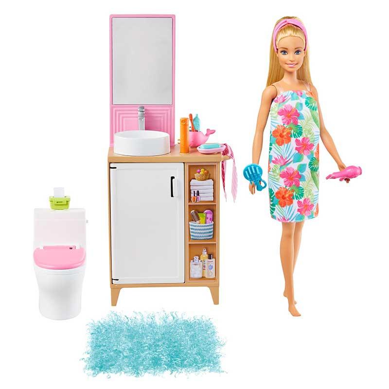 Barbie en casa Muñeca rubia set juguete de baño