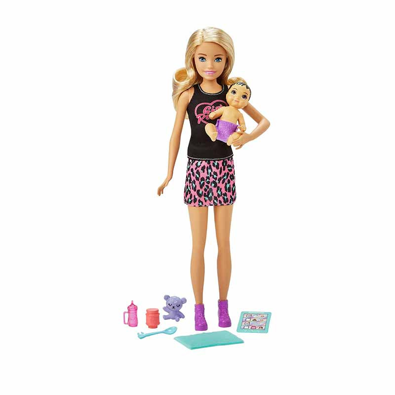 Barbie niñera con bebé y accesorios