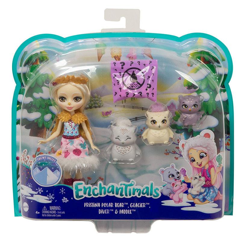 Enchantimals Muñeca Reindeer con familia mascotas