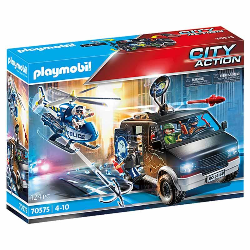 Playmobil City Action helicóptero y vehículo huído