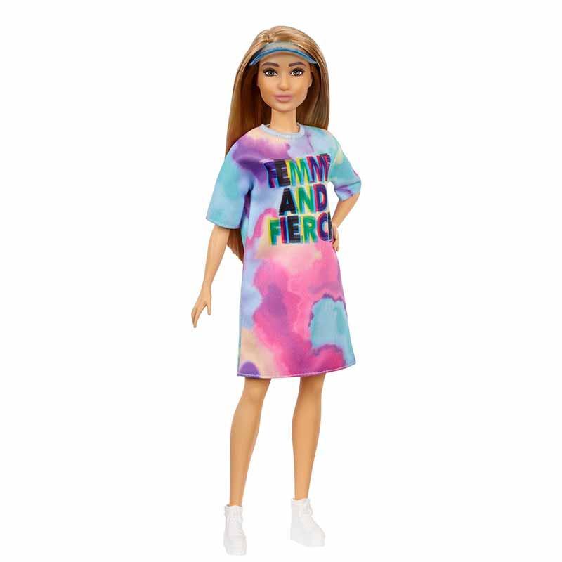 Barbie Fashionista morena vestido teñido tie dye
