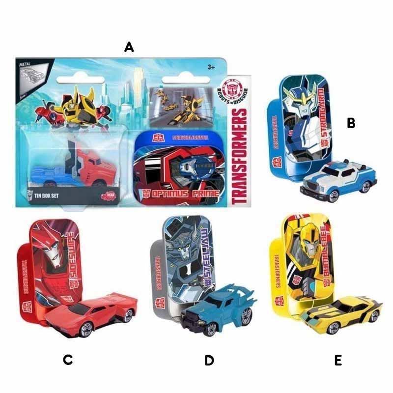 Transformers vehículos 7 cm en caja metálica