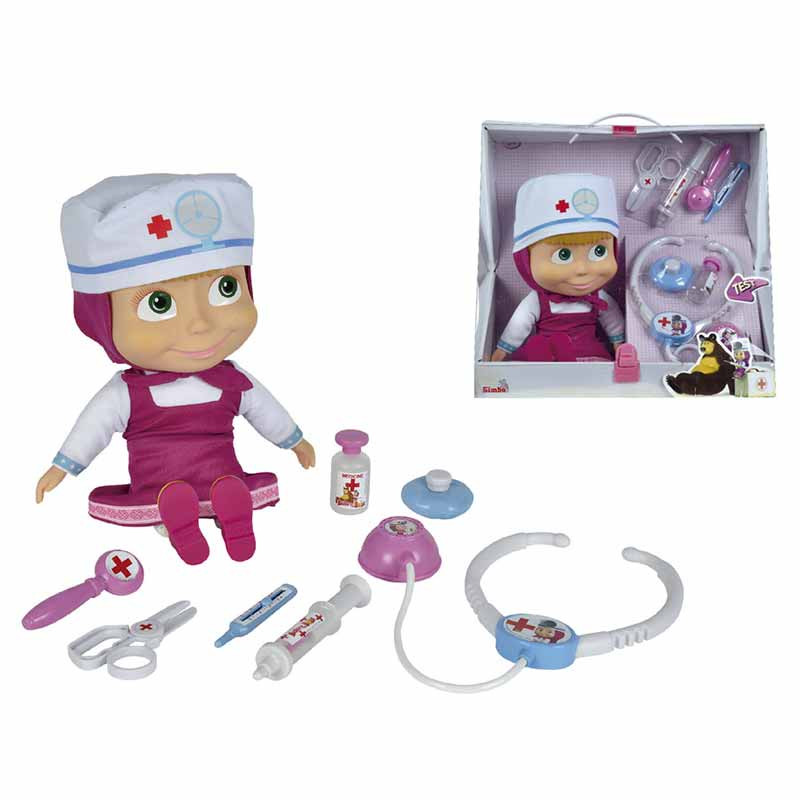 Muñeca Masha doctora con maletín médico