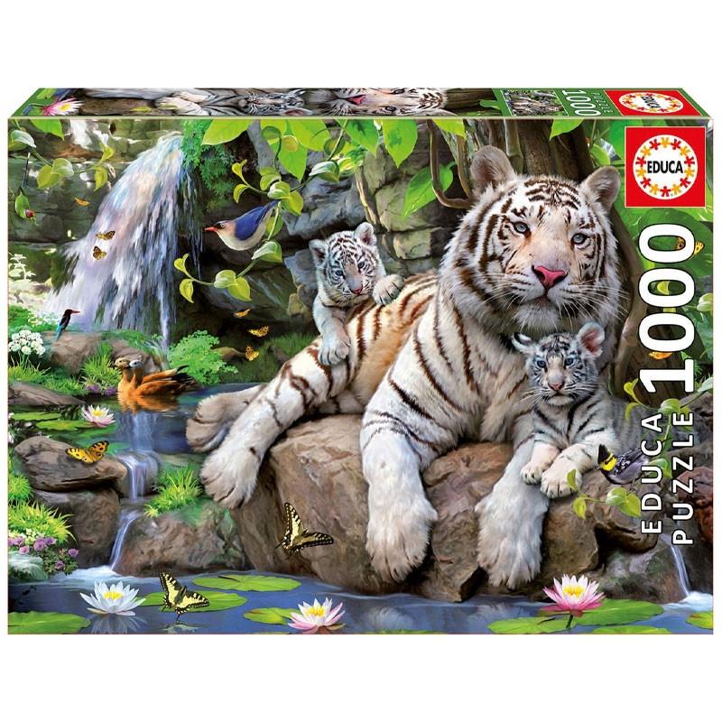 Educa puzzle 1000 tigres blancos de bengala