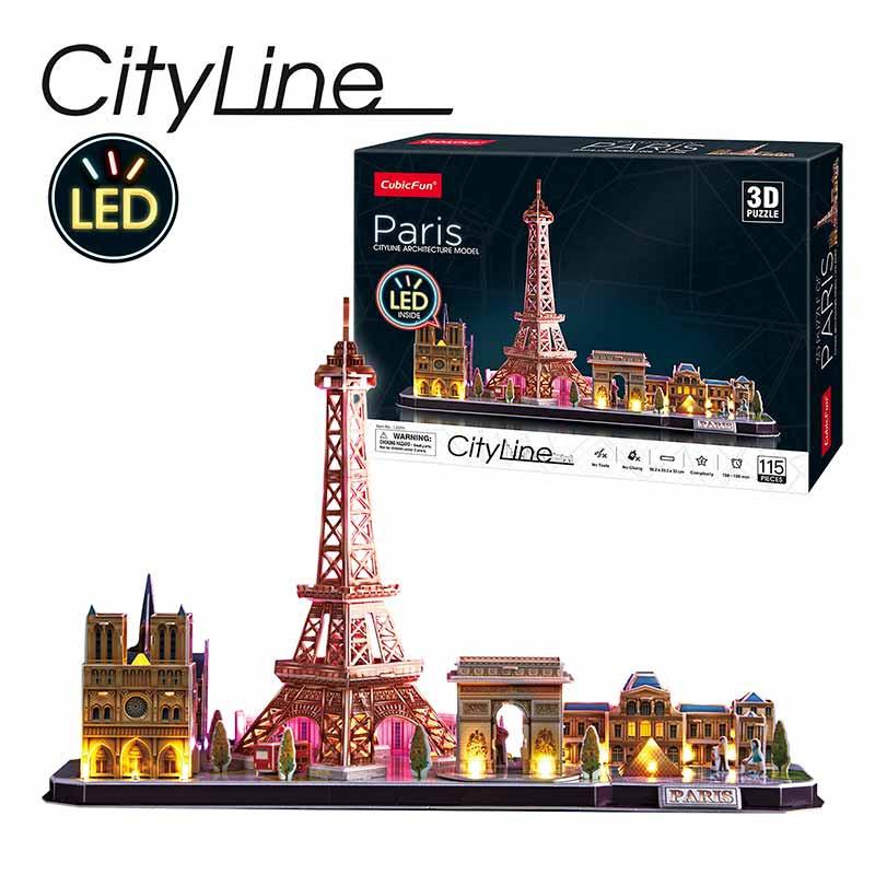 Puzle 3D City Line LED: París