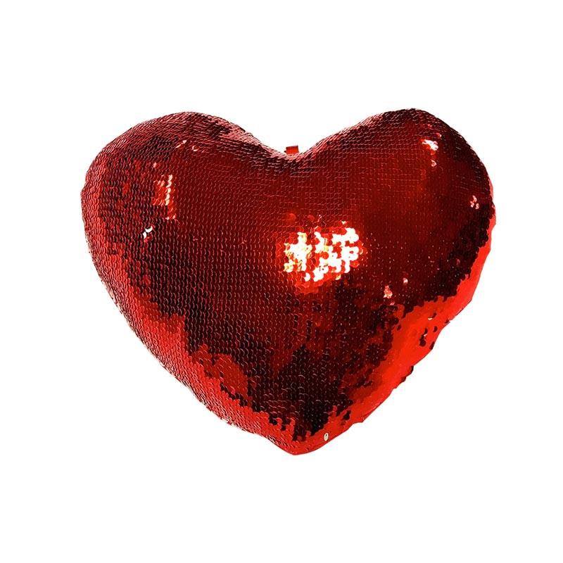 Cojín corazón de lentejuelas grande