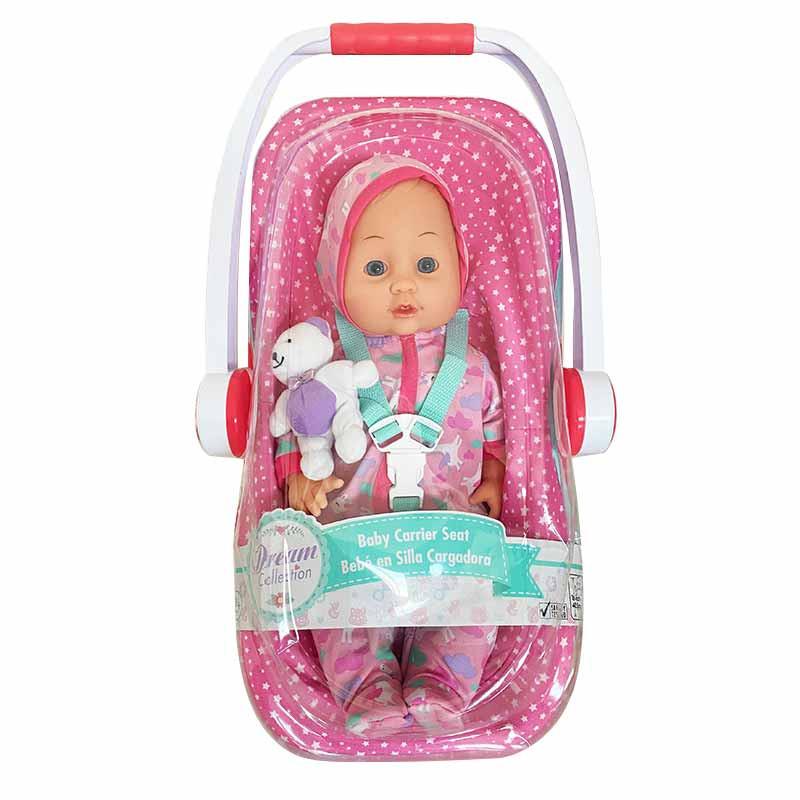 Muñeca Bebé 35 cm con silla transporte rosa