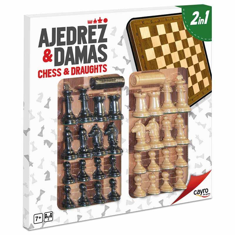 Tablero ajedrez y damas de madera y accs