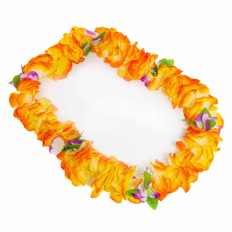 Collar Hawaiano Orquideas Naranja-Amarillo