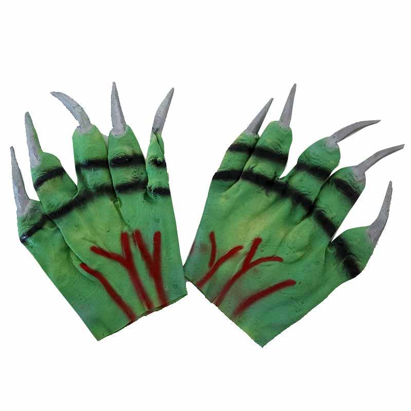 Guantes verdes con uñas