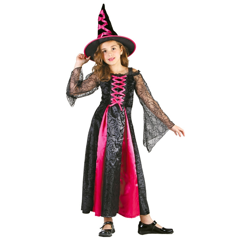 Disfraz Bruja Larga Rosa