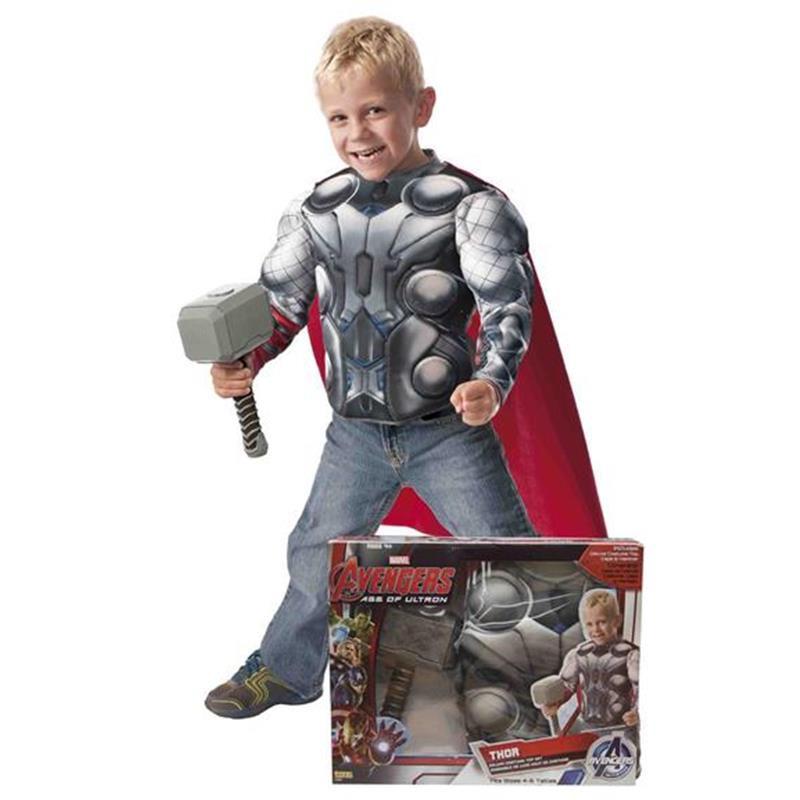 Disfraz Thor pecho musculoso y martillo infantil