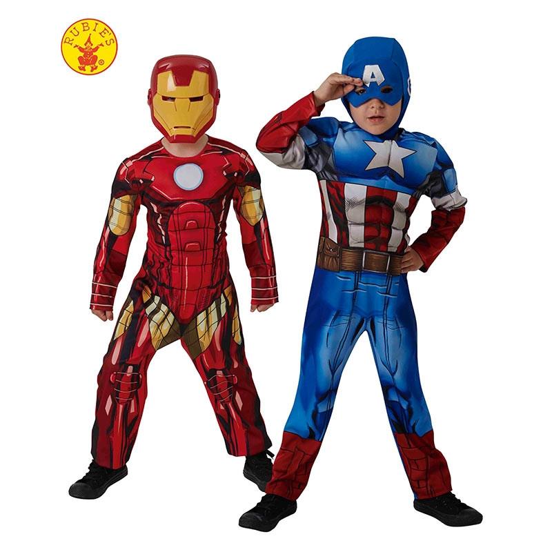 Disfraz Capitán América y Iron Man 2x1 Caja inf