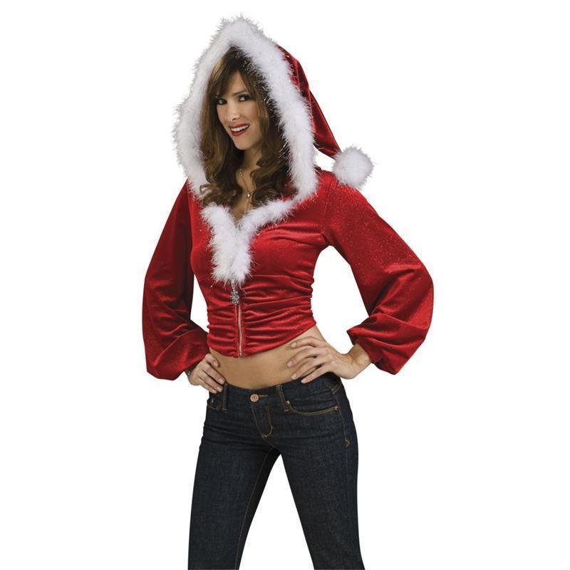 Top Mamá Noel con capucha rojo adulto