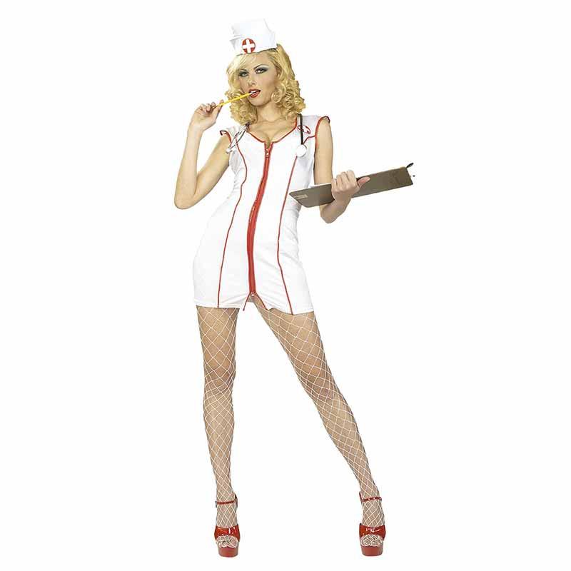 Disfraz enfermera con cremallera adulto