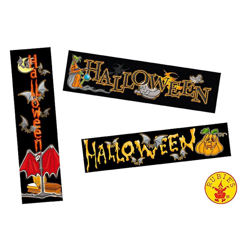 Pack 3 Carteles Halloween surtidos 83x19cm