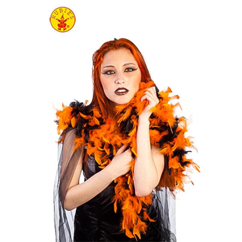 Bufanda Plumas Halloween Naranja-Negro Rubies