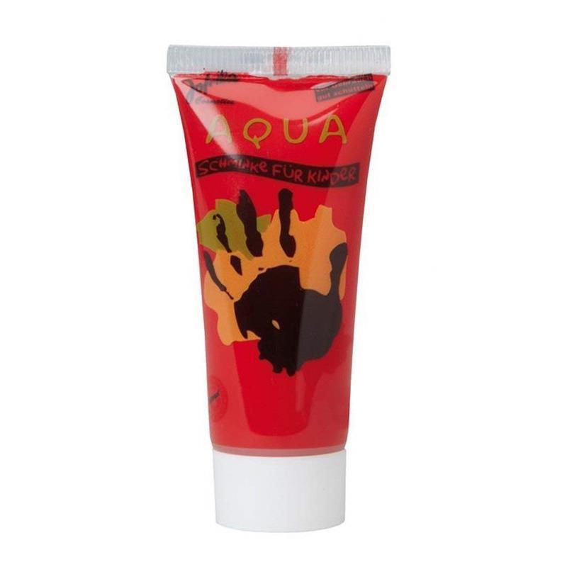 Maquillaje al agua en tubo rojo