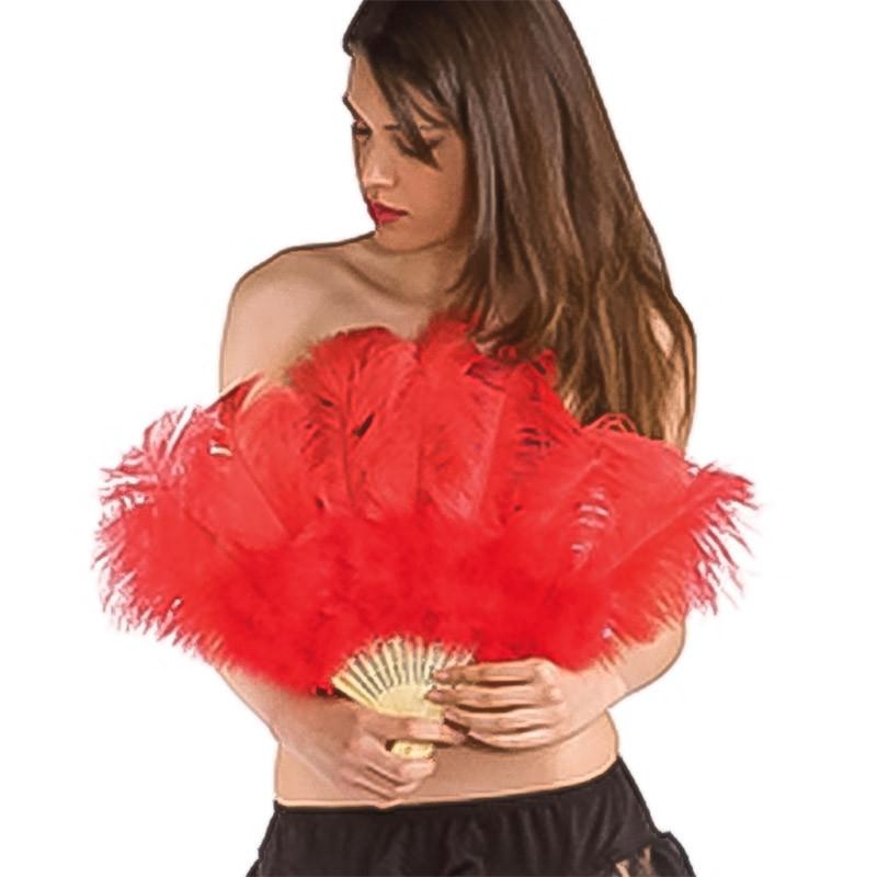 Abanico de plumas rojas