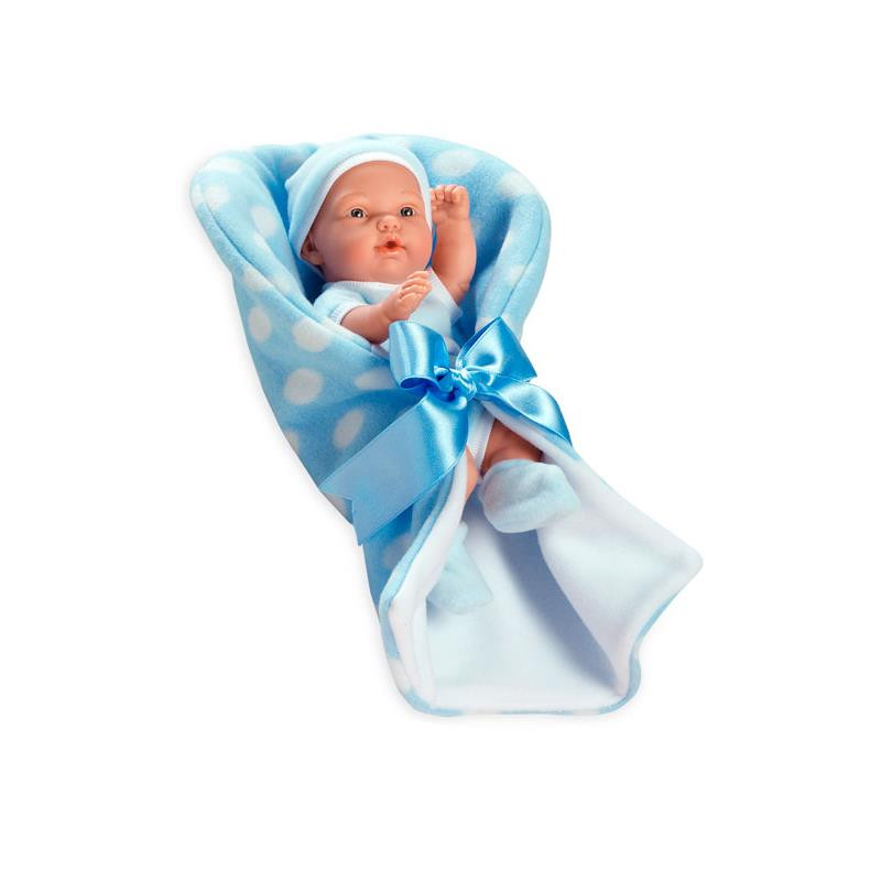 Muñeca bebé pillines azul mantita Elegance