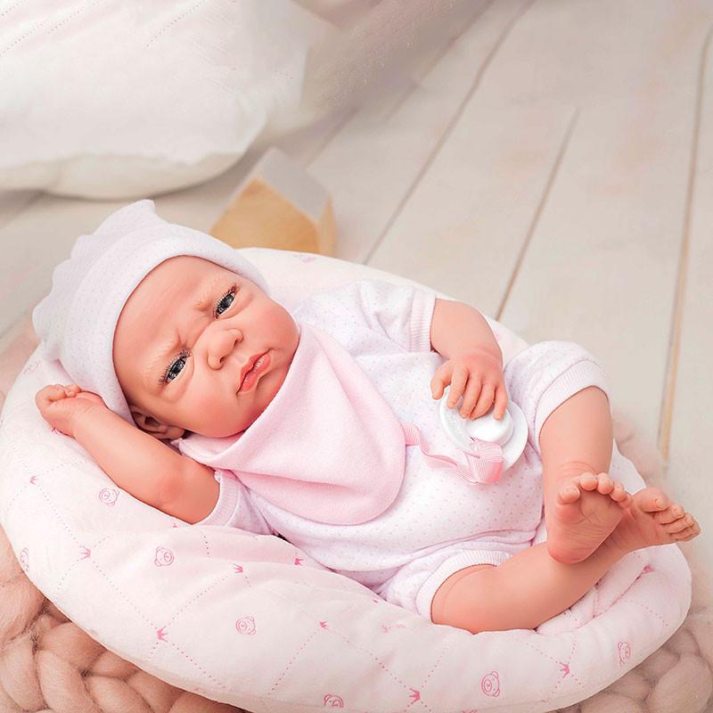 Muñeca reborn Edur 40cm rosa con cojín
