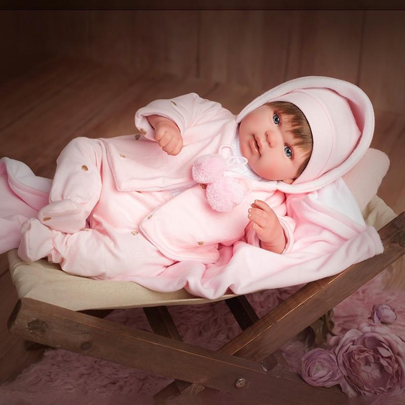Muñeca Reborn 45 cm Blanca con manta
