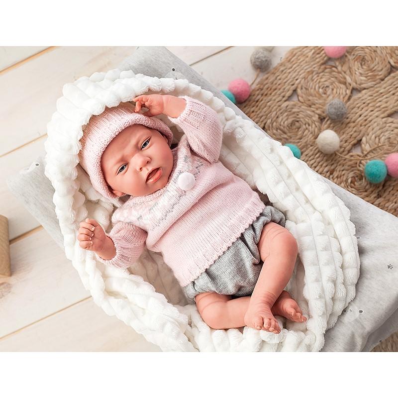 Muñeca Reborn Nieves 40 cm con manta y peluche