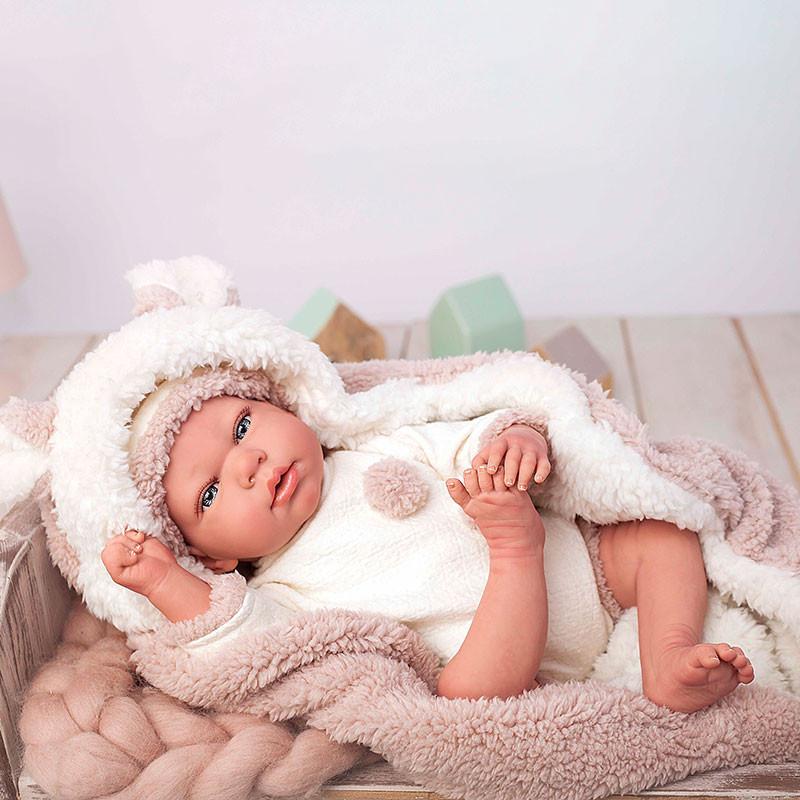 Muñeca reborn Anna 40cm con manta y peluche