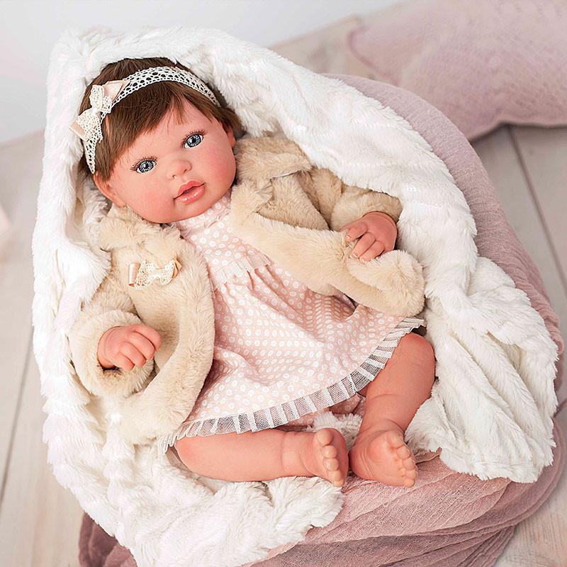 Muñeca reborn Andrea 45cm con pelo y abrigo