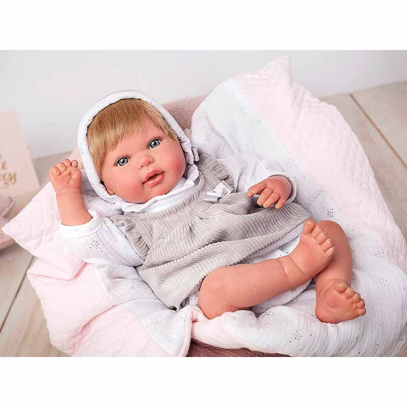Muñeca reborn Emma 45 cm con manta y peluche