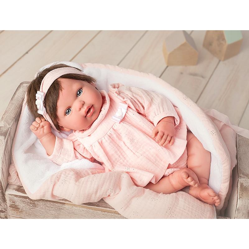 Muñeca Reborn Valentina 45 cm con manta y peluche