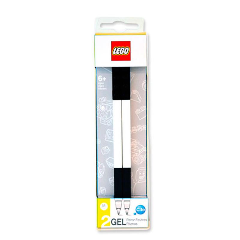 Pack 2 bolígrafos gel negro Lego