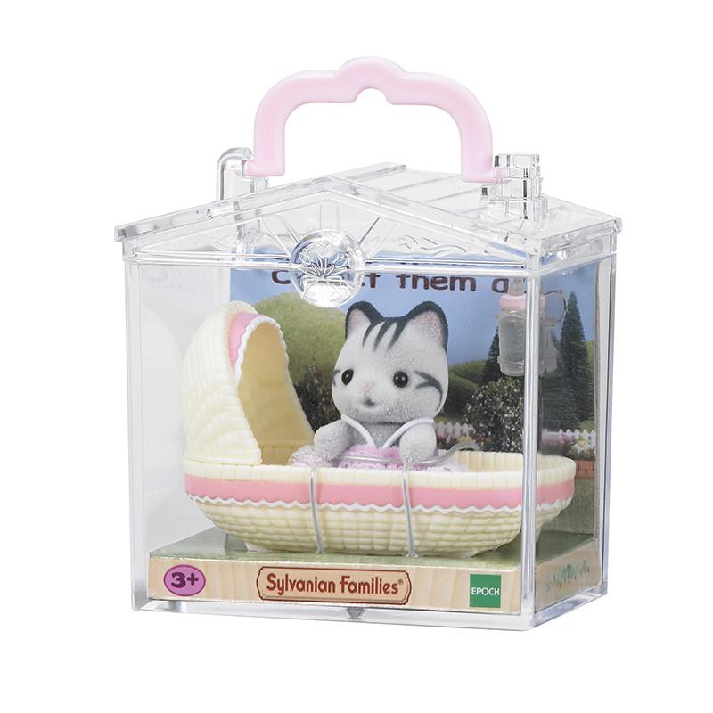 Sylvanian Families bebé para llevar gato en cuna