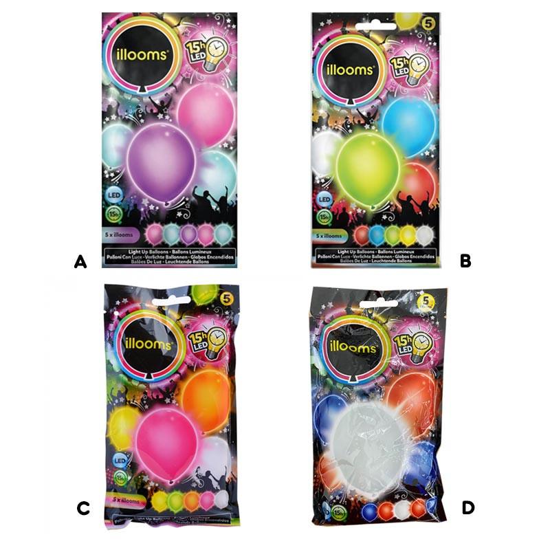 Pack de 5 globos luminosos de Illoms con LED