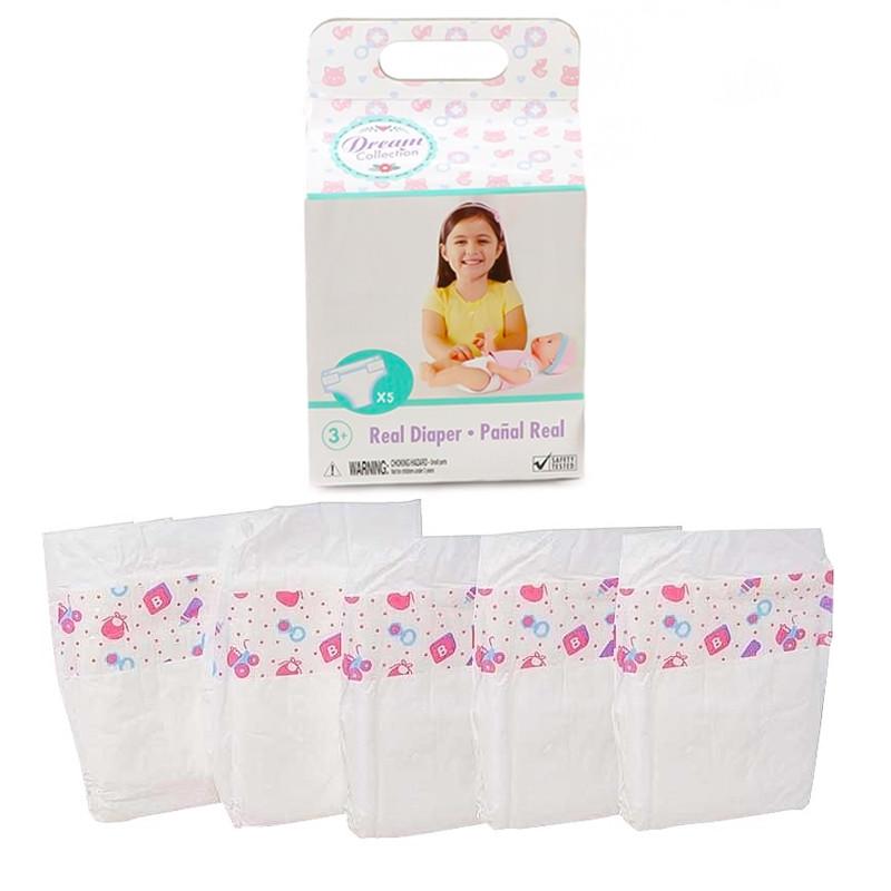 Pack de 5 pañales para muñecas