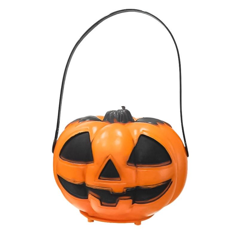 Calabaza con asa y luz Halloween