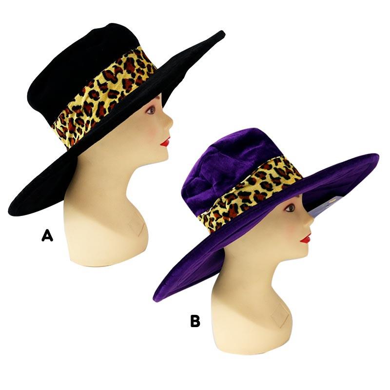 Sombrero Pimp Leopardo Negro y Lila